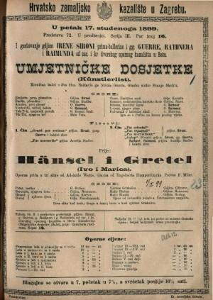 Umjetničke dosjetke komičan balet u dva čina / glazbu složio Franjo Skofitz