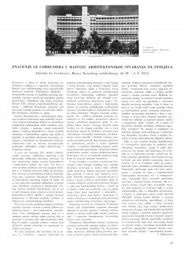 Značenje Le Corbusiera u razvoju arhitektonskog stvaranja našeg stoljeća : Bulletin Instituta za likovne umjetnosti Jugoslavenske akademije znanosti i umjetnosti