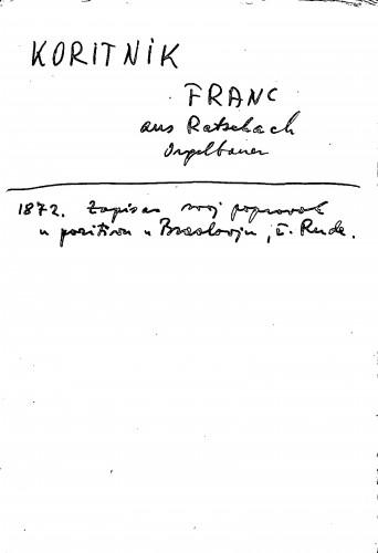 Koritnik Franc aus Ratschach ; Orgelbauer