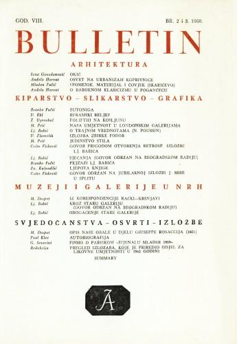 God. 8(1960), Br. 2-3 : Bulletin Odjela VII. za likovne umjetnosti Jugoslavenske akademije znanosti i umjetnosti