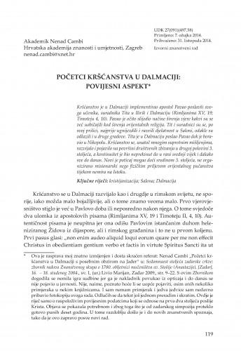 Početci kršćanstva u Dalmaciji: Povijesni aspekt : Adrias : zbornik Zavoda za znanstveni i umjetnički rad Hrvatske akademije znanosti i umjetnosti u Splitu