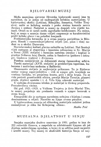 Bjelovarski muzej / Matko Peić. Muzealna djelatnost u Senju / Vuk D. Krajač : Bulletin Instituta za likovne umjetnosti Jugoslavenske akademije znanosti i umjetnosti