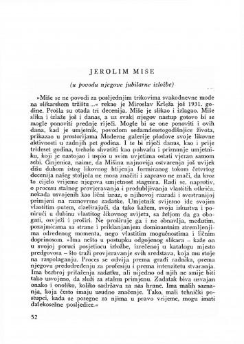 Jerolim Miše : Bulletin Odjela VII. za likovne umjetnosti Jugoslavenske akademije znanosti i umjetnosti