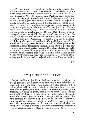Dvije izložbe u Rimu : Bulletin Instituta za likovne umjetnosti Jugoslavenske akademije znanosti i umjetnosti