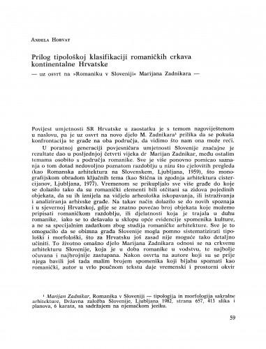 Prilog tipološkoj klasifikaciji romaničkih crkava kontinentalne Hrvatske : Bulletin Razreda za likovne umjetnosti Jugoslavenske akademije znanosti i umjetnosti