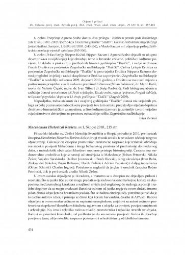 Macedonian Historical Review, sv. 1, Skopje 2010. : [prikaz] : Zbornik Odsjeka za povijesne znanosti Zavoda za povijesne i društvene znanosti Hrvatske akademije znanosti i umjetnosti