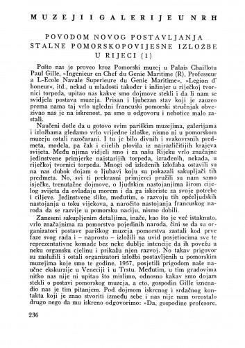 Povodom novog postavljanja stalne pomorsko povijesne izložbe u Rijeci : Bulletin Zavoda za likovne umjetnosti Jugoslavenske akademije znanosti i umjetnosti
