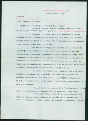 Tiskano pismo upućeno akademiku Žganecu od Đuke Kuntarića iz Sl. Požege