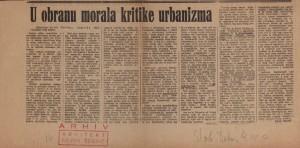 U obranu morala kritike urbanizma : Slobodna Dalmacija