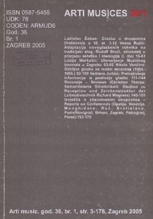 God. 36(2005), br. 1 : Arti musices
