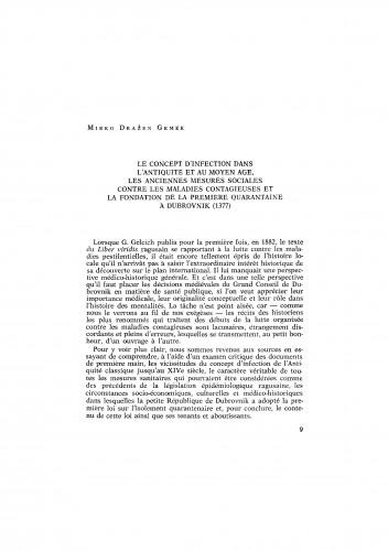 Le concept d´infection dans l´Antiquité et au Moyen Age, les anciennnes mesures sociales contre les maladies contagieuses et la fondation dela premiere quarantaine á Dubrovnik (1377)