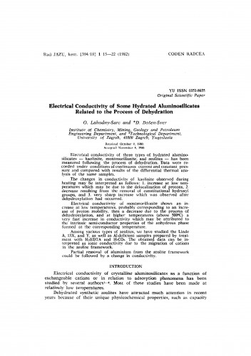 Electrical conductivity of some hydrated aluminosilicates related to the process of dehydration