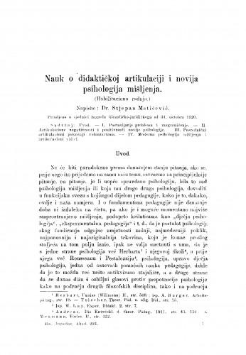 Nauk o didaktičkoj artikulaciji i novija psihologija mišljenja