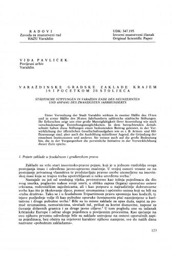 Varaždinske gradske zaklade krajem 19. i početkom  20. stoljeća : Radovi Zavoda za znanstveni rad Varaždin