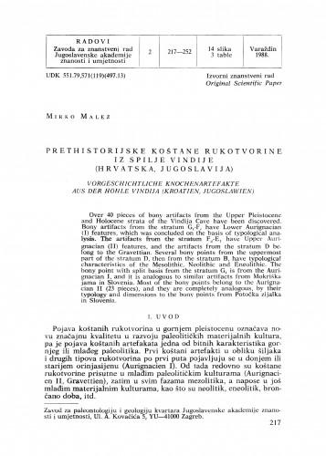 Prethistorijske koštane rukotvorine iz spilje Vindije (Hrvatska, Jugoslavija) : Radovi Zavoda za znanstveni rad Varaždin