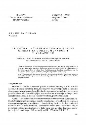 Privatna uršulinska ženska realna gimnazija s pravom javnosti u Varaždinu : Radovi Zavoda za znanstveni rad Varaždin