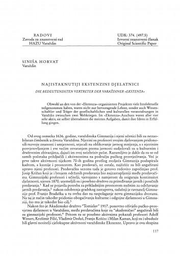 Najistaknutiji ekstenzini djelatnici : Radovi Zavoda za znanstveni rad Varaždin