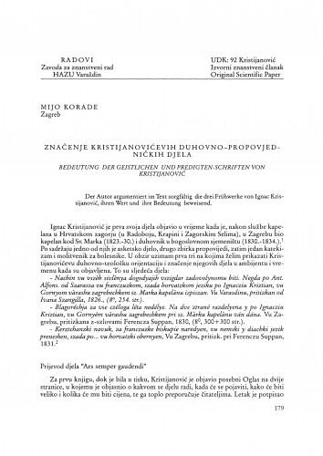 Značenje Kristijanovićevih duhovno-propovjedničkih djela : Radovi Zavoda za znanstveni rad Varaždin