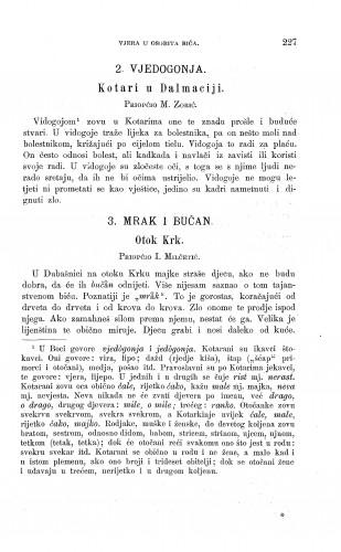 Kotari u Dalmaciji ; Otok Krk : vjedogonja ; mrak i bučan : Zbornik za narodni život i običaje