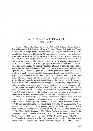 Aleksandar Flaker (1924.-2010.) : nekrolog : Ljetopis