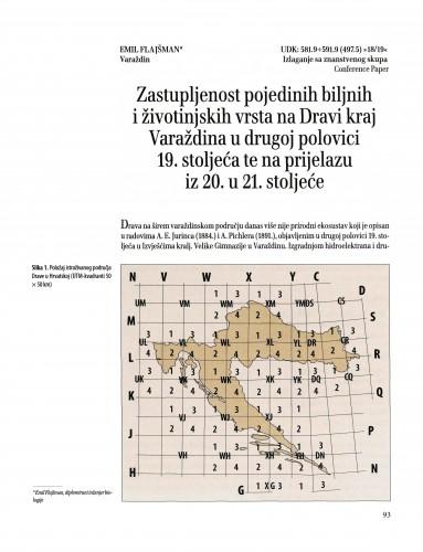 Zastupljenost pojedinih biljnih i životinjskih vrsta na Dravi kraj Varaždina u drugoj polovici 19. stoljeća te na prijelazu iz 20. u 21. stoljeće