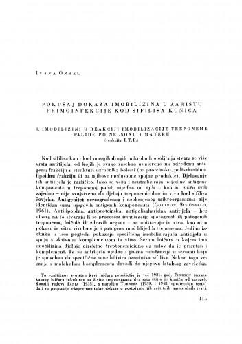 Pokušaj dokaza imobilizina u žarištu primoinfekcije kod sifilisa kunića