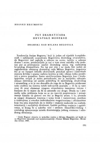 Pet dramatičara Hrvatske Moderne