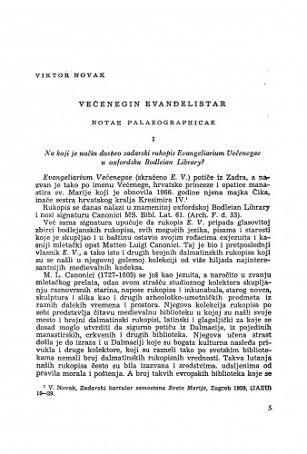 Većenegin evanđelistar : Notae paleographicae / Viktor Novak