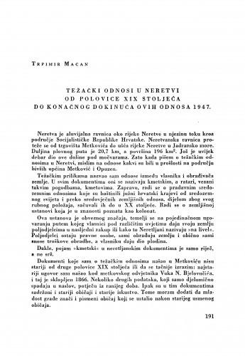 Težački odnosi u Neretvi od polovice XIX stoljeća do konačnog dokinuća ovih odnosa 1947. / Trpimir Macan