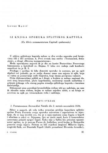 Iz knjiga oporuka splitskog kaptola : (Ex libris testamentorum Capituli spalatensis) / Lovre Katić