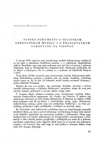 Turski dokumenti u splitskom Arheološkom muzeju i u franjevačkom samostanu na Visovcu / Sulejman Bajraktarević