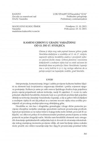 Kameni grbovi u gradu Varaždinu od 13. do 17. stoljeća : Radovi Zavoda za znanstveni rad Varaždin