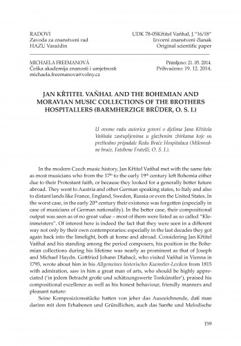 Jan Křtitel Vaňhal and the Bohemian and Moravian music collections of the Brothers Hospitallers (Barmherzige Brüder, O. S. I.) : Radovi Zavoda za znanstveni rad Varaždin