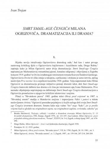 Smrt Smail-age Čengića Milana Ogrizovića. Dramatizacija ili drama? : Krležini dani u Osijeku