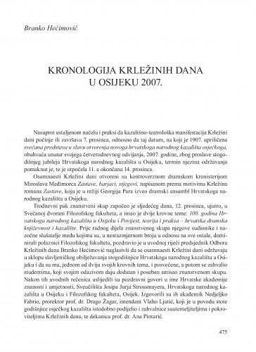 Kronologija Krležinih dana u Osijeku 2007. : [prilog] : Krležini dani u Osijeku