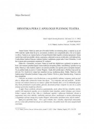 Hrvatska pera u apologiji plesnog teatra : Krležini dani u Osijeku