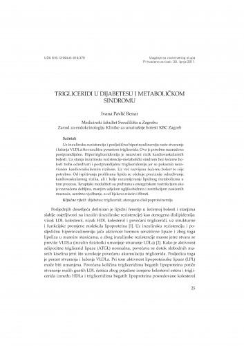 Trigliceridi u dijabetesu i metaboličkom sindromu : Posebna izdanja HAZU. Prilozi za strategiju hrvatskog razvoja