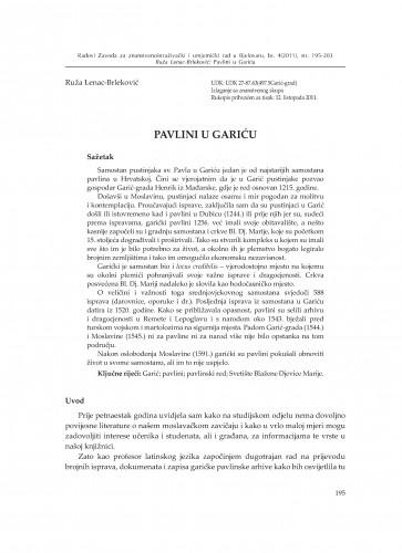 Pavlini u Gariću : Radovi Zavoda za znanstvenoistraživački i umjetnički rad u Bjelovaru
