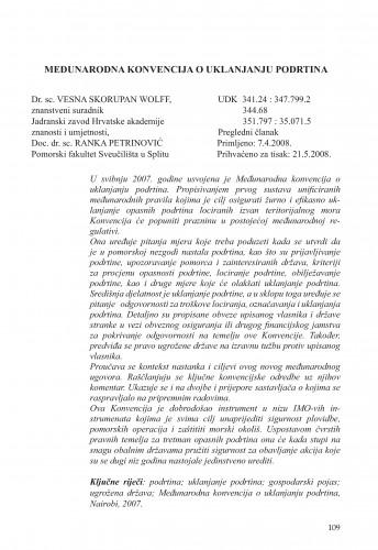 Međunarodna konvencija o uklanjanju podrtina : Poredbeno pomorsko pravo