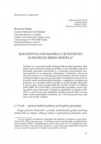 Kognitivna gramatika u kontekstu Konstrukcijskih modela : Filologija : časopis Razreda za filološke znanosti Hrvatske akademije znanosti i umjetnosti