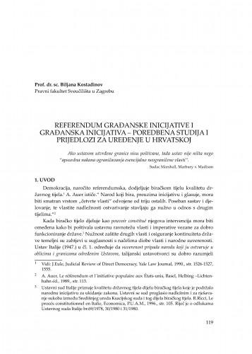 Referendum građanske inicijative i građanska inicijativa - poredbena studija i prijedlozi za uređenje u Hrvatskoj : [uvodno izlaganje] : Modernizacija prava