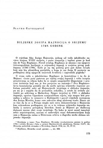 Bilješke Josipa Hajnocija o Srijemu 1789. godine / Slavko Gavrilović