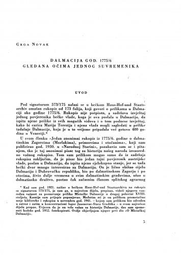 Dalmacija godine 1775/6. gledana očima jednog suvremenika / Grga Novak