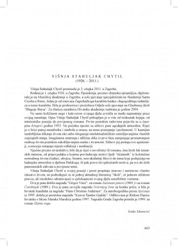 Višnja Stahuljak Chytil (1926.-2011.) : [nekrolog] : Ljetopis