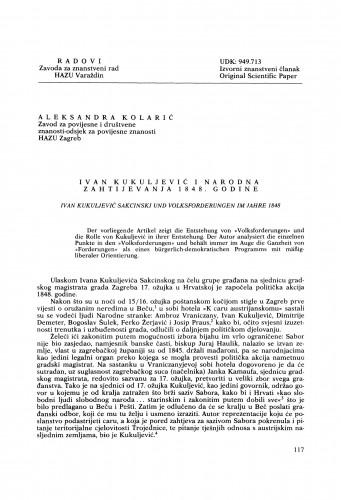 Ivan Kukuljević i narodna zahtjevanja 1848. godine : Radovi Zavoda za znanstveni rad Varaždin