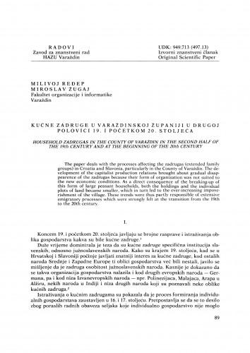Kućne zadruge u Varaždinskoj županiji u drugoj polovici 19. i početkom 20. stoljeća : Radovi Zavoda za znanstveni rad Varaždin