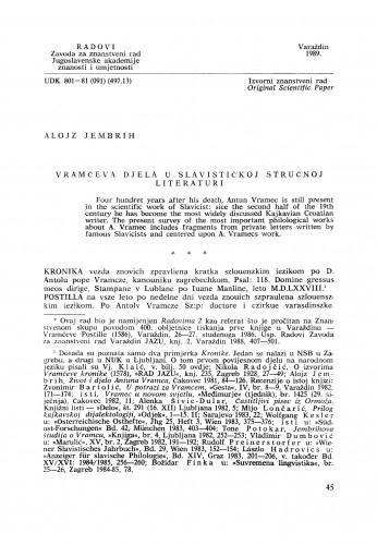 Vramčeva djela u slavističkoj stručnoj literaturi : Radovi Zavoda za znanstveni rad Varaždin