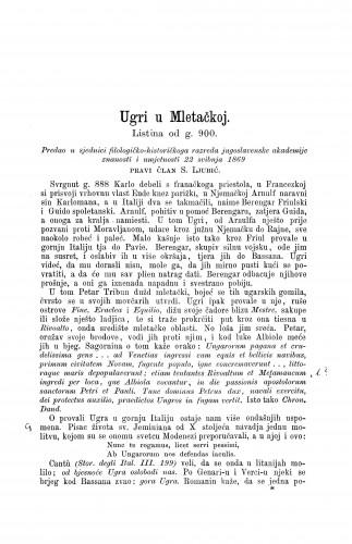 Ugri u Mletačkoj : listina od g. 900. / Sime Ljubić