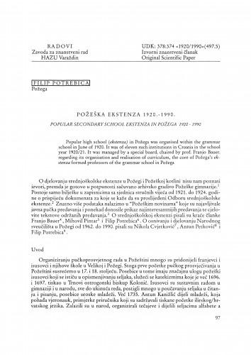 Požeška ekstenza 1920.-1990. : Radovi Zavoda za znanstveni rad Varaždin