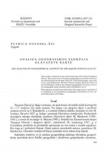 Analiza geografskog sadržaja Glavačeve karte : Radovi Zavoda za znanstveni rad Varaždin